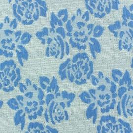 Tissu Damassé Floral bleu x 10cm