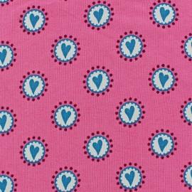 Tissu jersey Little Hearts bleu x 10cm