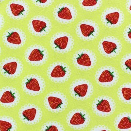Lace Strawberry Jersey Fabric - Yellow x 10cm