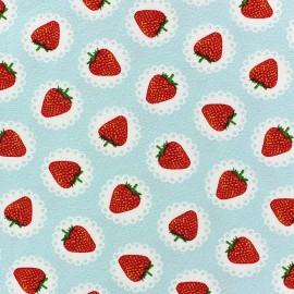 Lace Strawberry Jersey Fabric - Sky x 10cm
