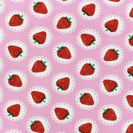 Tissu jersey Fraise Dentelle fond rose x 10cm