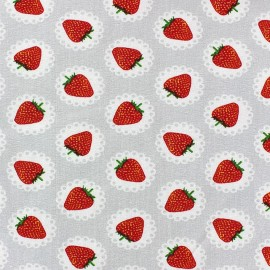 Lace Strawberry Jersey Fabric - Mouse Grey x 10cm