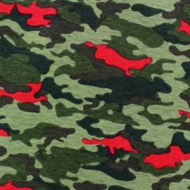 Tissu sweat léger Camo Militaire Rouge x 10cm