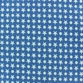 Tissu jersey Ronds / Étoiles fond ciel x 10cm