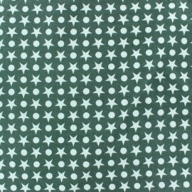 Circles/Stars Jersey Fabric - Green x 10cm
