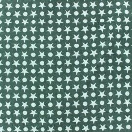 Tissu jersey Ronds / Étoiles fond vert sauge x 10cm