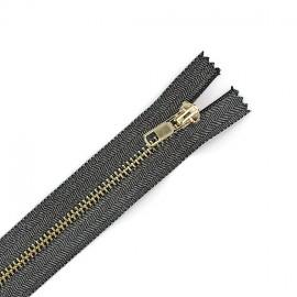 Metal shiny closed end zip - lurex black