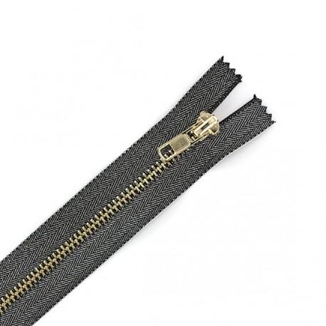 Metal shiny closed end zip - lurex noir