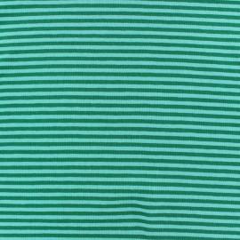 Tissu jersey rayures 3 mm vert prairie x 10cm
