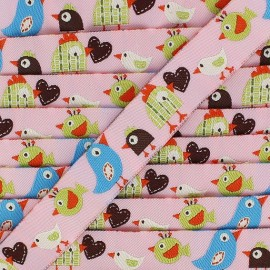Jacquard Ribbon, Birds Love - Pink