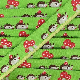 Jacquard Ribbon, Hedgehogs and Mushrooms - Green