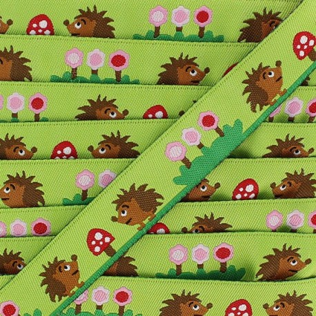Jacquard Ribbon, Hedgehogs and Flowers - Green