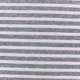 Tissu jersey rayures 7 mm camay fond gris chiné x 10cm