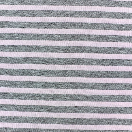 Jersey fabric with cameay stripes 7 mm - china grey x 10cm