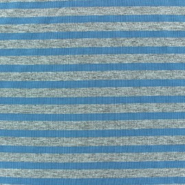 Jersey fabric with blue-grey stripes 7 mm - china grey x 10cm