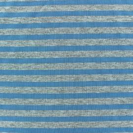 Tissu jersey rayures 7 mm Gris bleu fond gris chiné x 10cm