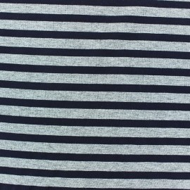 Jersey fabric with navy stripes 7 mm - china grey x 10cm