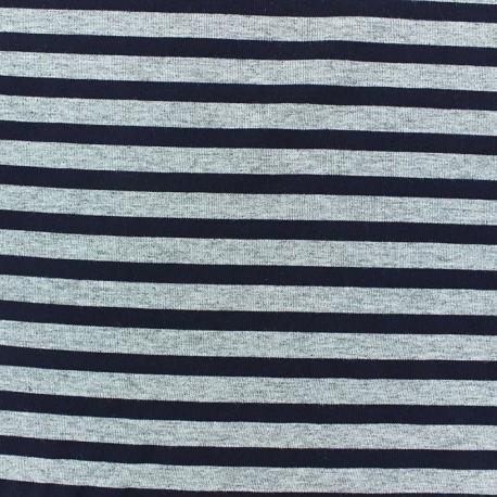 Tissu jersey rayures 7 mm Marine fond gris chiné x 10cm
