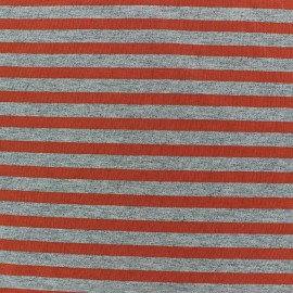 Jersey fabric with orange stripes 7 mm - china grey x 10cm