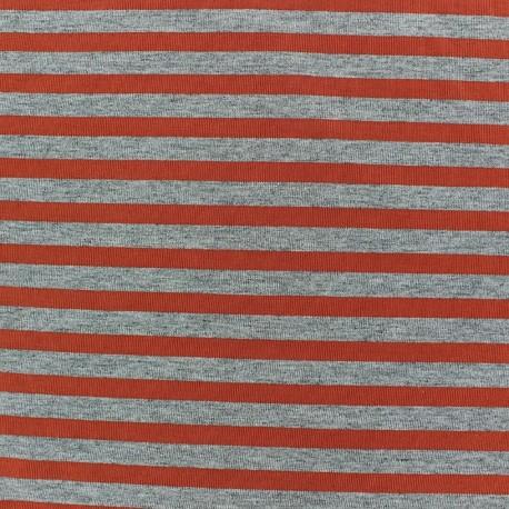 Tissu jersey rayures 7 mm Orange fond gris chiné x 10cm