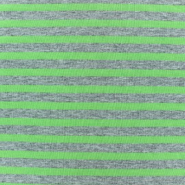 Jersey fabric with lime stripes 7 mm - china grey x 10cm