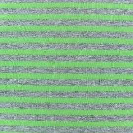 Tissu jersey rayures 7 mm Vert anis fond gris chiné x 10cm