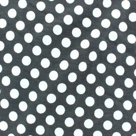 Jersey fabric with white dots 12 mm - grey x 10cm