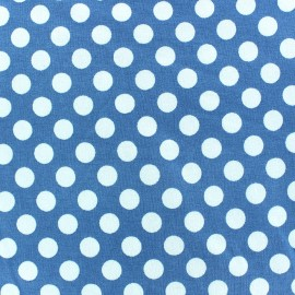Tissu jersey pois blanc 12 mm fond bleu ciel x 10cm