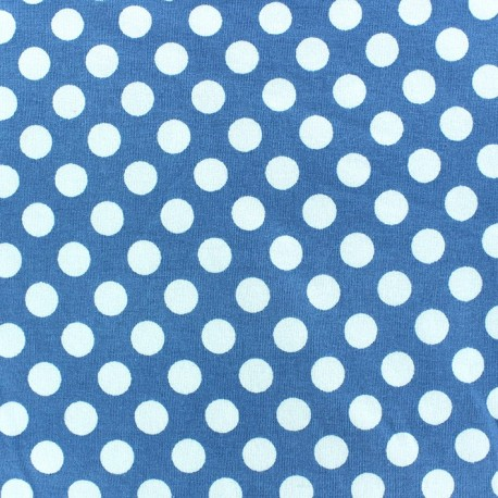 Jersey fabric with white dots 12 mm - sky blue x 10cm