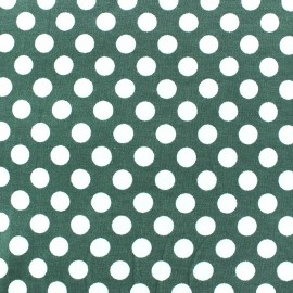 Jersey fabric with white dots 12 mm - sage green x 10cm