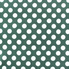 Tissu jersey pois blanc 12 mm fond vert sauge  x 10cm