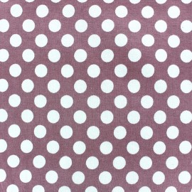 Jersey fabric with white dots 12 mm - pink x 10cm