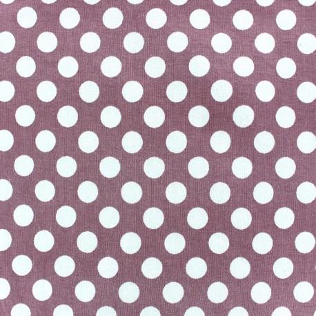 Tissu jersey pois blanc 12 mm fond rose x 10cm