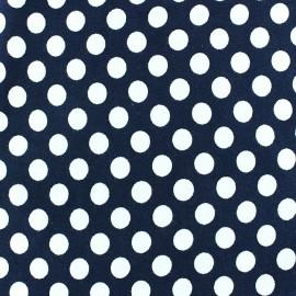 Tissu jersey pois blanc 12 mm fond marine x 10cm