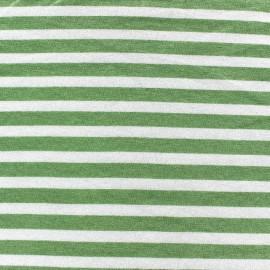 Tissu jersey de viscose rayures vert sauge 10 mm fond blanc x 10cm