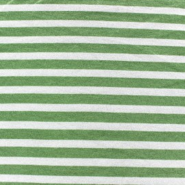Viscose Jersey Fabric - Sage Green stripes 10mm / White x 10cm