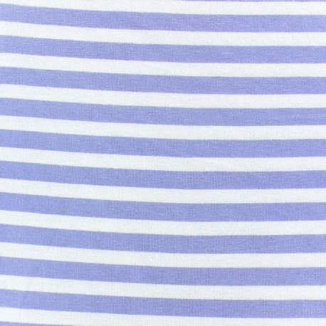 Tissu jersey de viscose rayures parme  10 mm fond blanc x 10cm