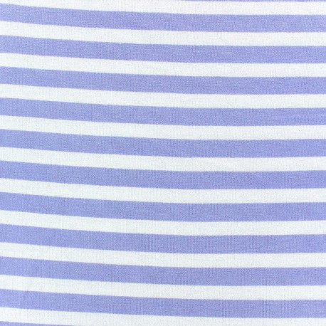 Viscose Jersey Fabric - Parma stripes 10mm / White x 10cm