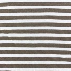 Tissu jersey de viscose rayures brun 10 mm fond blanc x 10cm