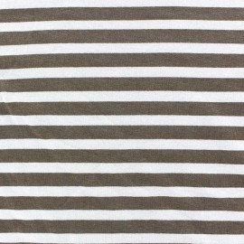 Viscose Jersey Fabric - Light Brown stripes 10mm / White x 10cm