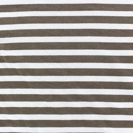 Viscose Jersey Fabric - Light Brown stripes 10mm / White x 10cm