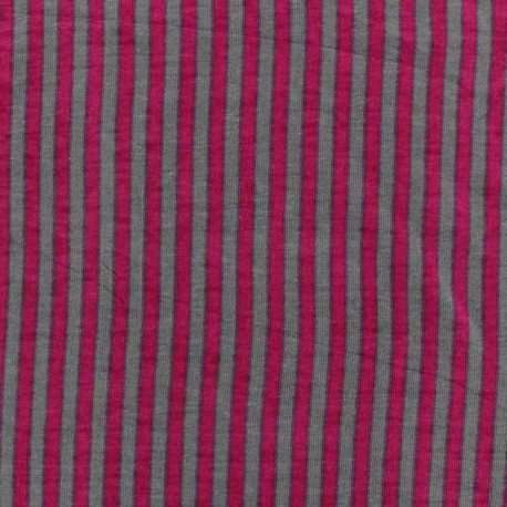 Jersey fabric with two-tone stripes - grey/pink x 10cm