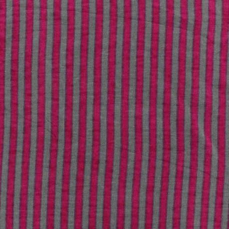 Tissu jersey rayures bicolore Gris / Rose x 10cm