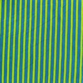 Tissu jersey rayures bicolore Paon / Vert x 10cm