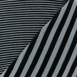 Tissu jersey de viscose reversible à rayures fond gris clair x 10cm