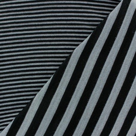 Striped Reversible Viscose Jersey Fabric - Light Grey x 10cm