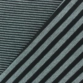 Tissu jersey de viscose reversible à rayures fond gris x 10cm