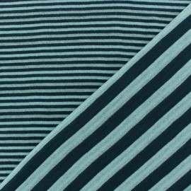 Tissu jersey de viscose reversible à rayures fond bleu dragée x 10cm