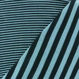 Tissu jersey de viscose reversible à rayures fond ciel x 10cm