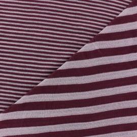 Tissu jersey de viscose reversible à rayures fond camay x 10cm